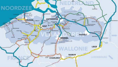 waterwegen kaart volgens de CEMT-klasse