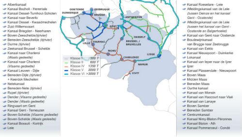 waterwegen met technische gegevens